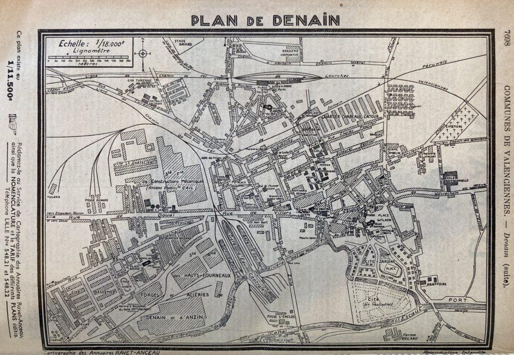 Plan de Denain 1939 [Annuaire Rivet-Anceau Archives Départementales du Nord]