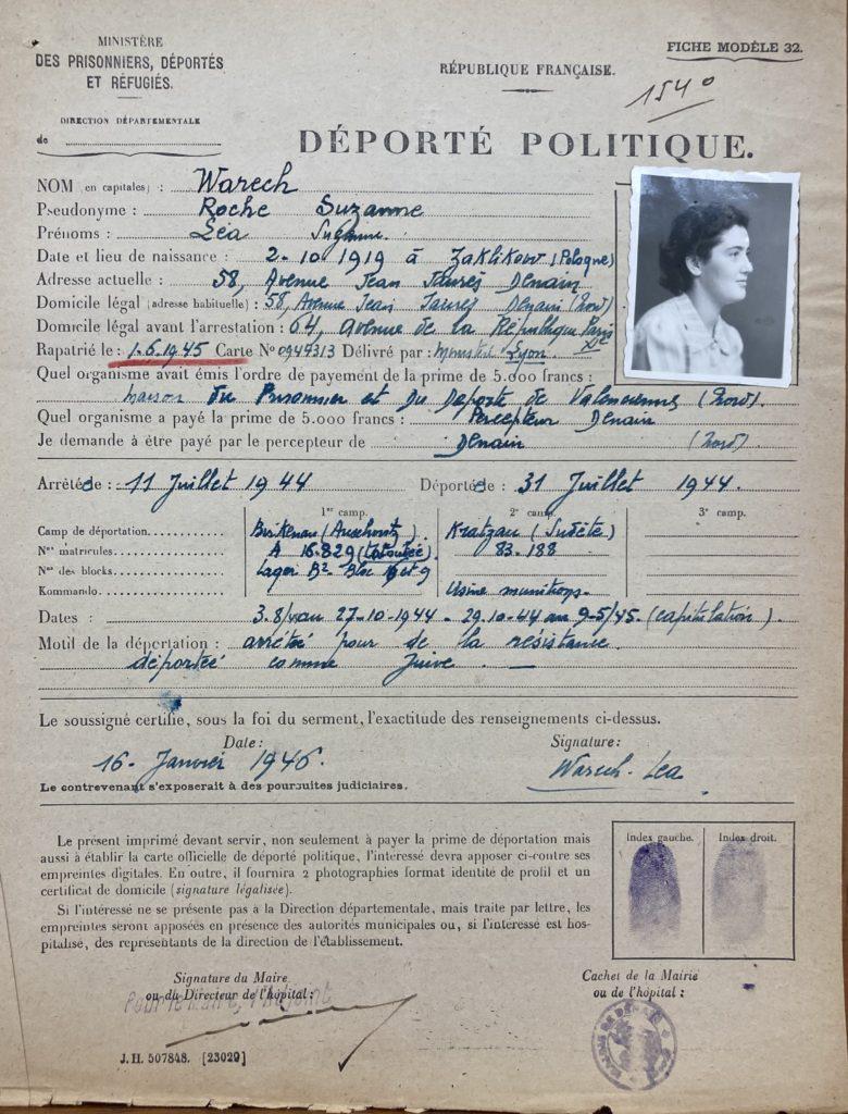 Dossier de déporté politique de Léa Warech [DAVCC 21 P 617493]