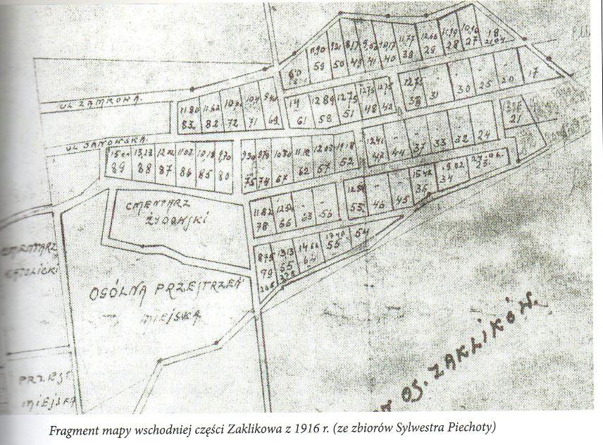 Plan Zakliwow 1916 (Cimétière Juif = Cmentarz Zydowjki) [collection Sylwestra Piechoty