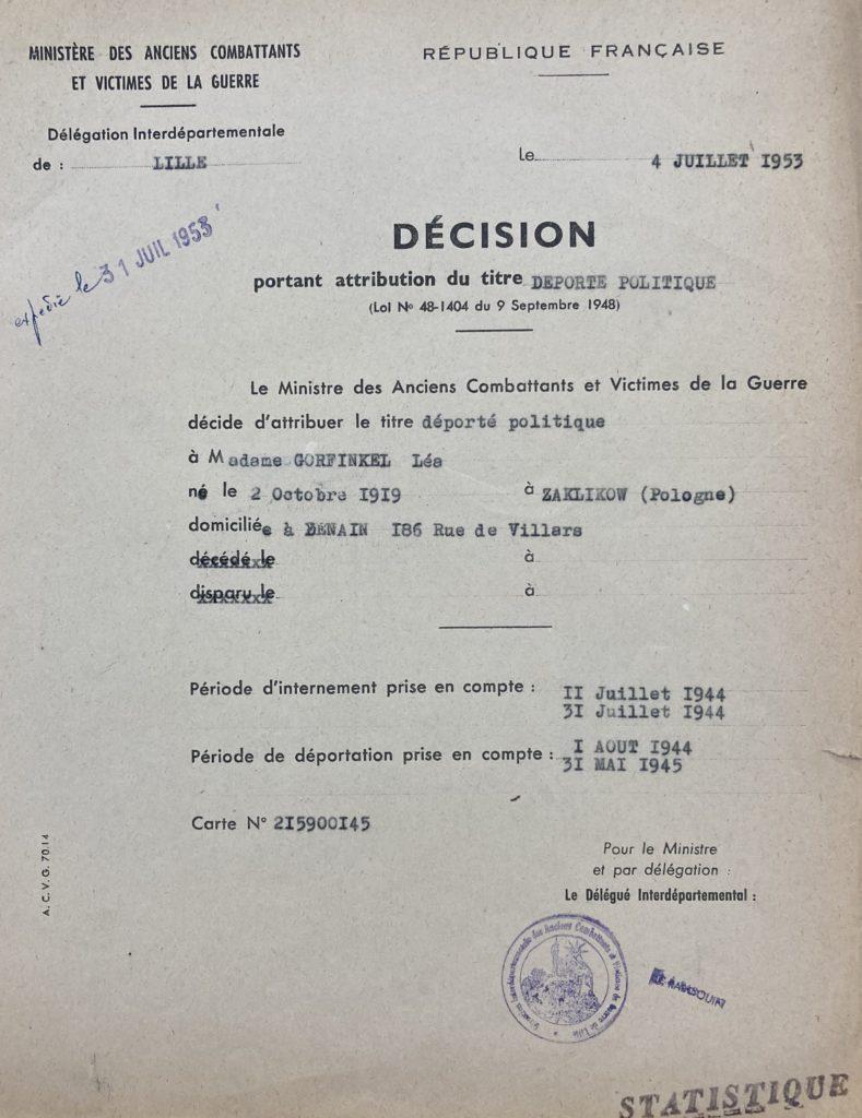 Décision de l'attribution du statut de déporté politique de Léa WARECH [DAVCC 21 P 617493]