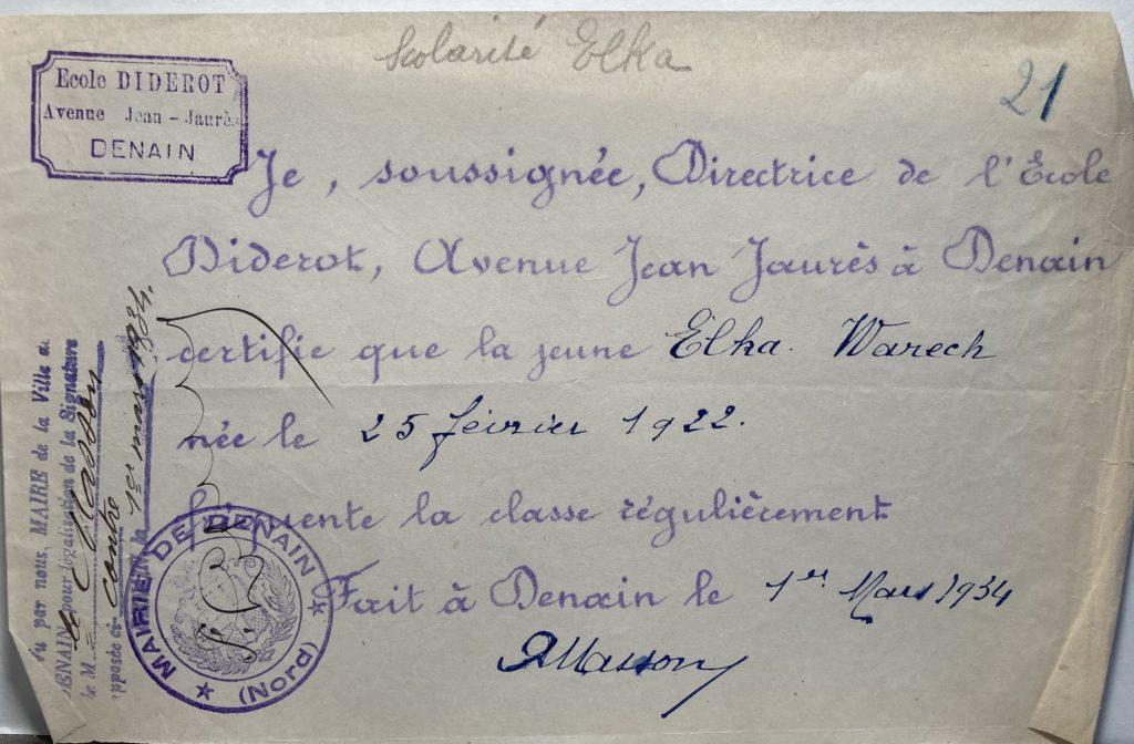 Certificat de scolarité Elka Warech [Archives nationales 19770884/169 dossier n°33619X34]
