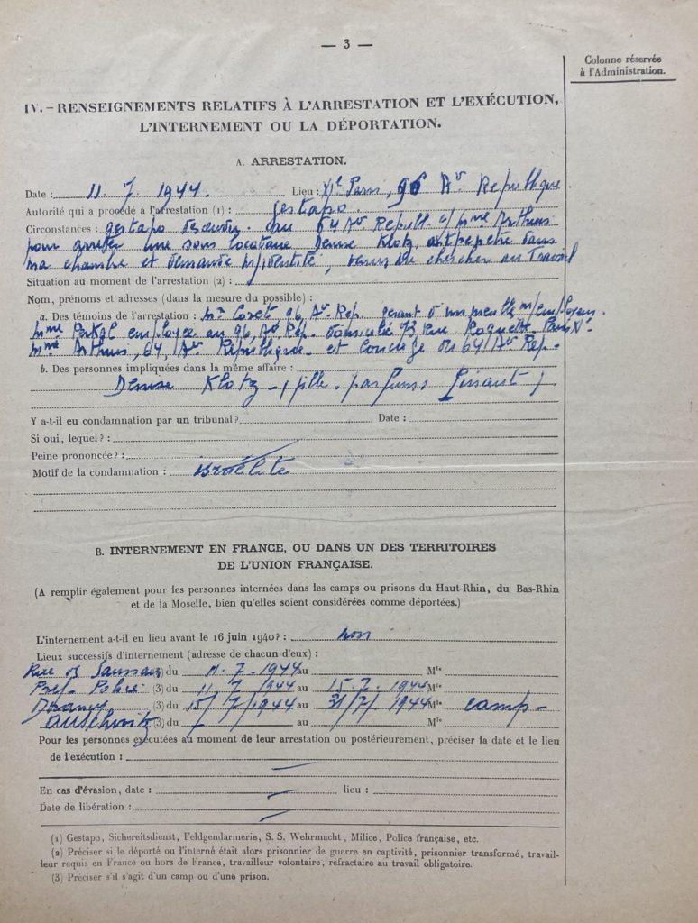 Dossier de déportée résiatnte de Léa Warech description de l'arrestation [extrait des archives de la DAVCC 21 P 617493]
