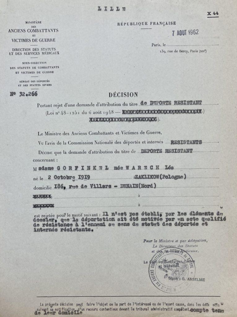Décision de l'attribution du statut de déporté résiatante de Léa WARECH [DAVCC 21 P 617493]