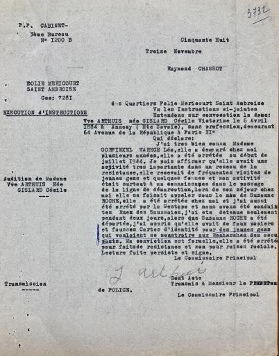 Témoignage de Madame Arthuis Cécile extrait des archives de la DAVCC [21 P 617493]